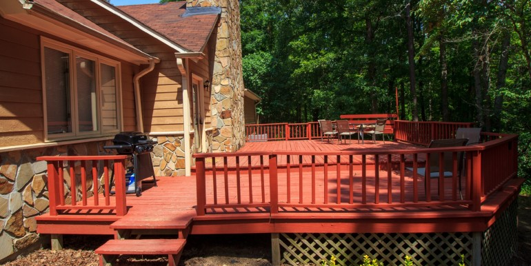 Deck with BBQ gas grill and patio furniture